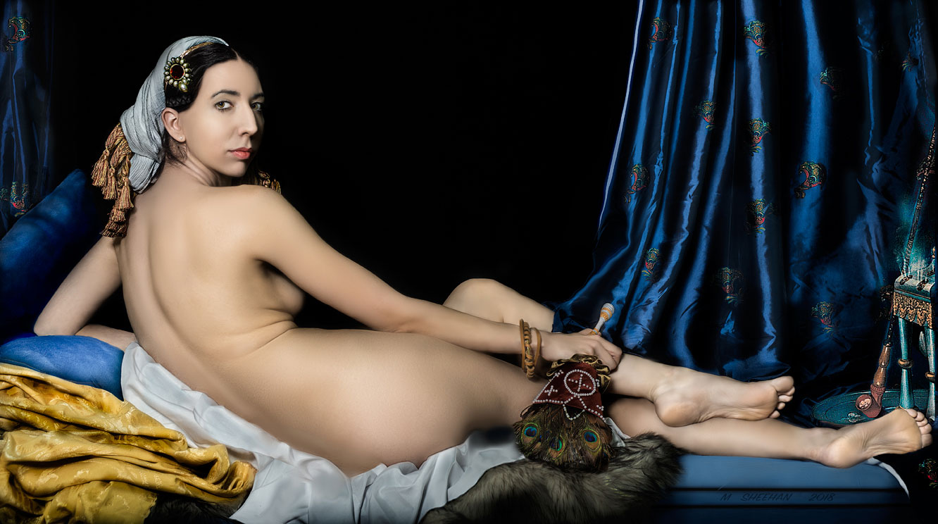 "After Ingres, La Grande Odalisque, studio reconstruction: 27"" x 15"""