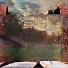 "rusted sunrise: 23"" x 35"""